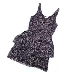 Madewell Eliot Silk Black Tan Layered Peplum Dress